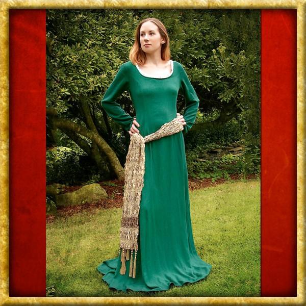 Kleid mit goldenem Tuch - Grün