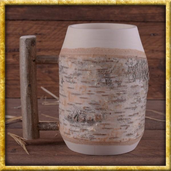 Krug mit Henkel aus Birkenholz - ca. 0,5l