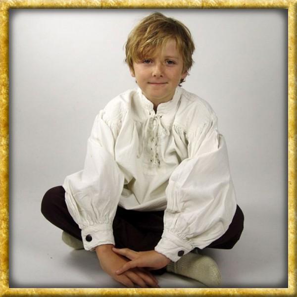 Hemd mit Stehkragen für Kinder - Weiss