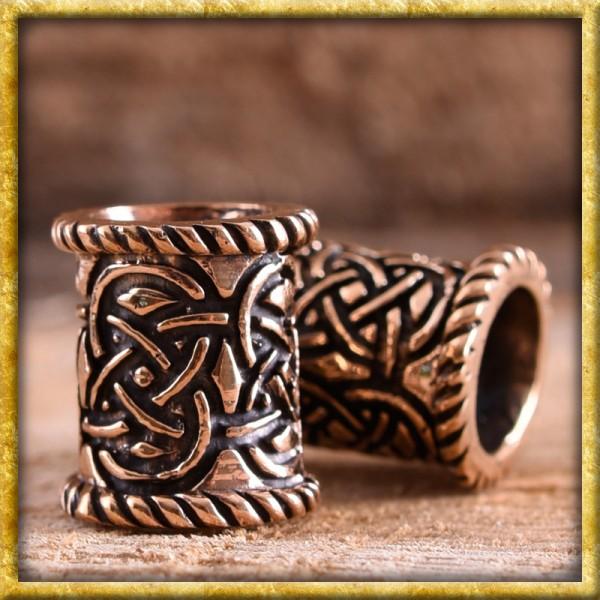 Keltische Bartperle Knotenmuster - Bronze