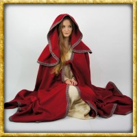 Umhang mit grosser Kapuze und Bordüre - Rot