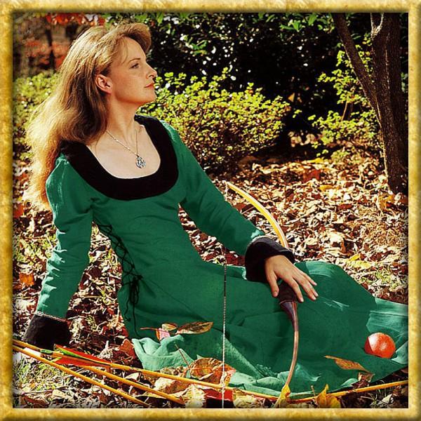 Kleid mit schwarzem Schulterkragen - Grün