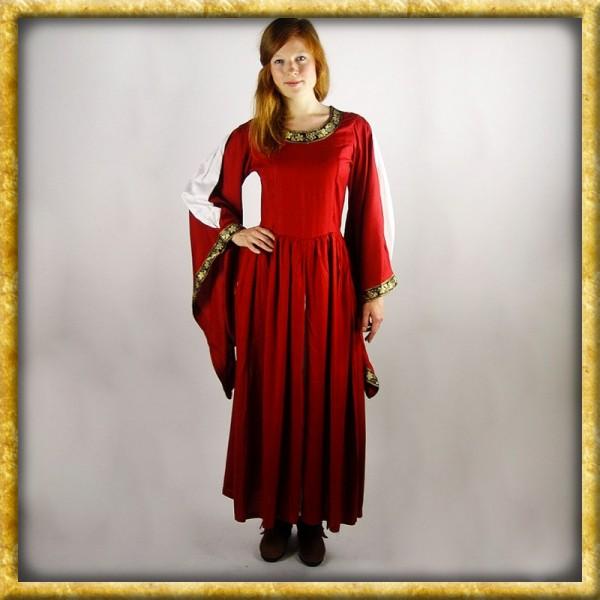 Edles Kleid mit Bordüre - Rot