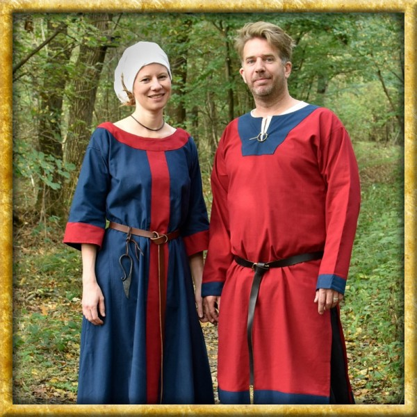 Frühmittelalterliche Tunika - Rot/Blau