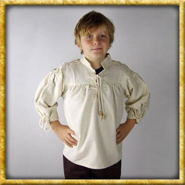 Hemd mit Ärmelschnürung für Kinder - Natur