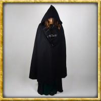 Schwerer Damenumhang mit Kapuze - Schwarz