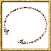 Wikinger Halsreif Wölfe aus Bronze