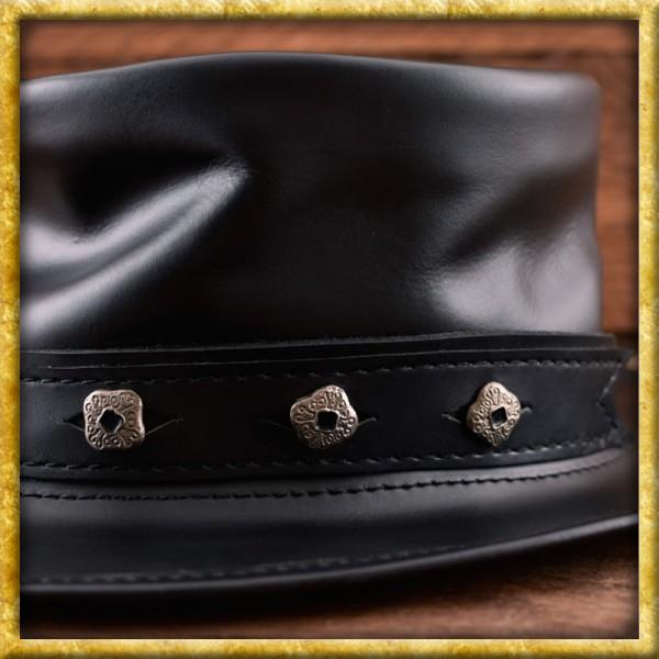 Zylinder aus Leder mit Zierknöpfen - Schwarz