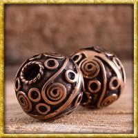 Bartperle mit keltischen Spiralen - Bronze