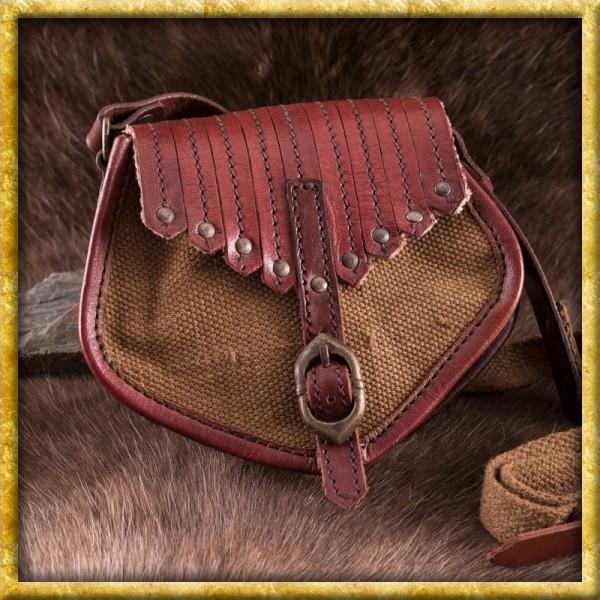 Wikinger Tasche aus Leder und Segeltuch