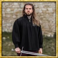 Mittelalterhemd mit Schnürkragen - Natur