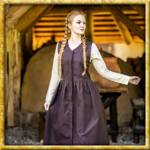 Ärmelloses Bauernkleid - Braun