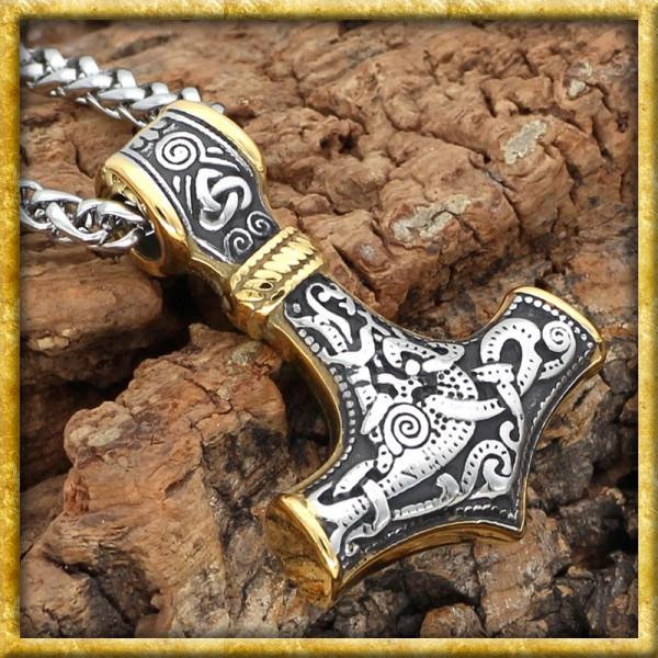Wikinger Halskette vergoldeter Thors Hammer