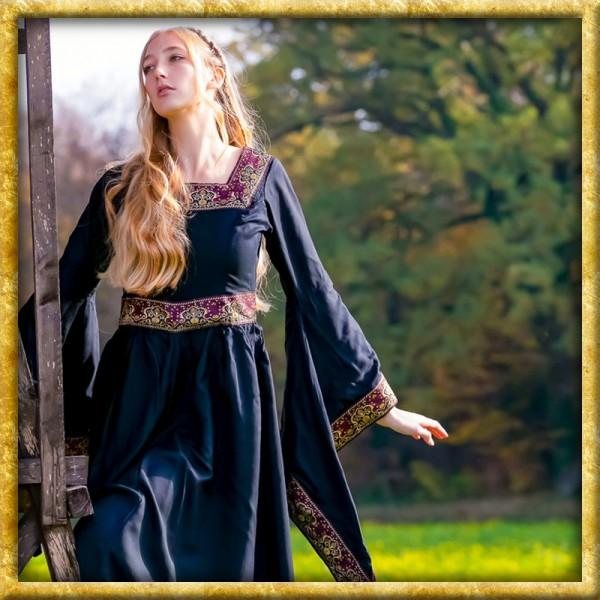 Edles Kleid mit breiter Bordüre - Schwarz
