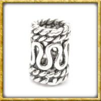 Bartperle mit Schlangenmuster - Silber