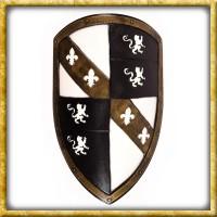 LARP Wappenschild mit Löwen - Weiss/Schwarz