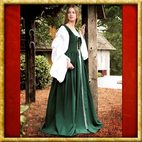 Kleid mit Schnürbustier - Grün