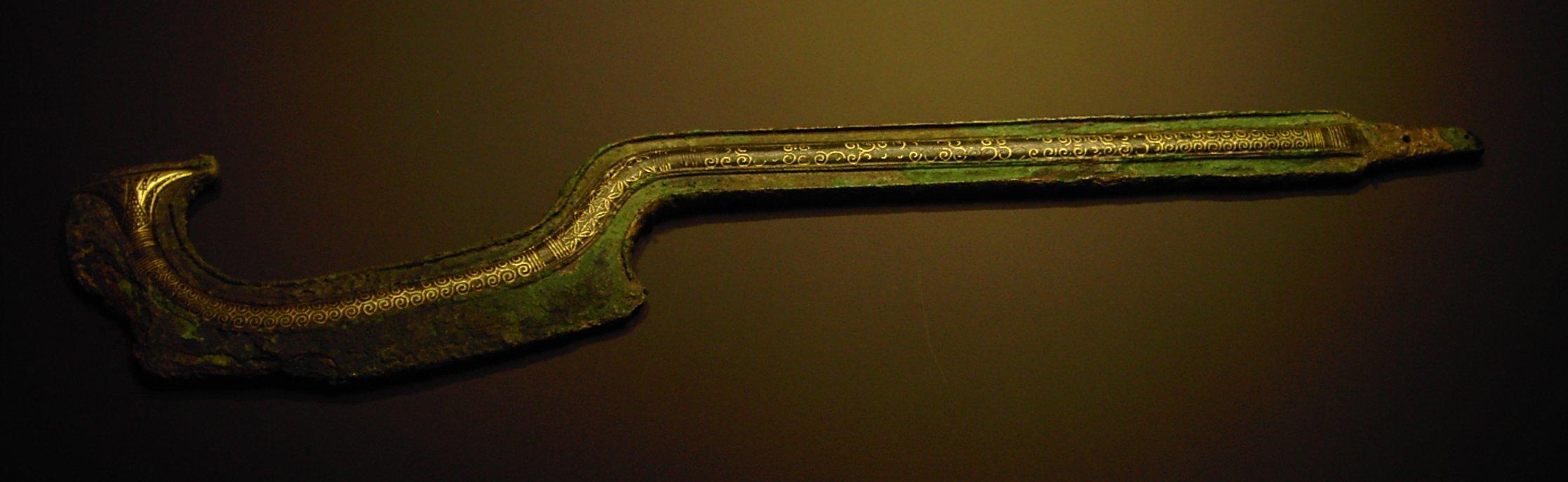 Sichelschwert aus Sichem (Nablus) mit Einlagen aus Elektron (um 1750 v. Chr.)