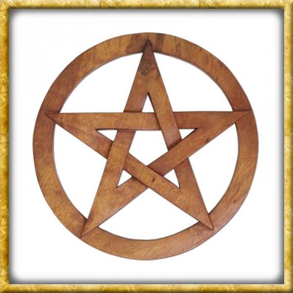 Grosses Pentagramm im Kreis - Handgeschnitzt