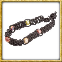 Lederarmband mit Perlen - Schwarz Schwarz|Schwarz