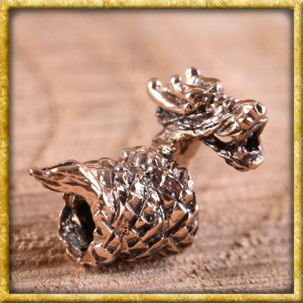 Wikinger Bartperle kleiner Drache - Bronze
