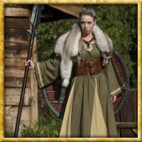Mittelalter Kleid Astrid - Grün/Beige