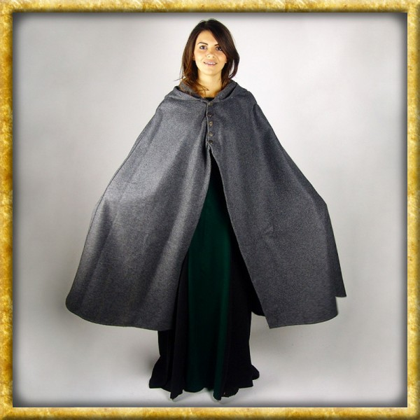Schwerer Damenumhang mit Metallknöpfen - Grau