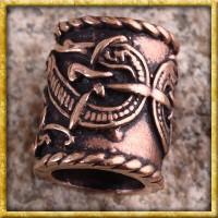 Grosse Wikinger Bartperle Drachen - Bronze