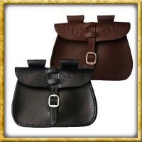 Verzierte Gürteltasche aus Leder - Schwarz oder Braun