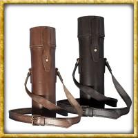 Thermoskanne mit Lederhülle - Schwarz oder Braun