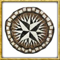Lammfelldecke Black/White/Brown - Durchmesser 150cm