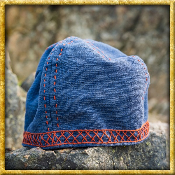 Wikinger Kappe mit Stickerei - Blau