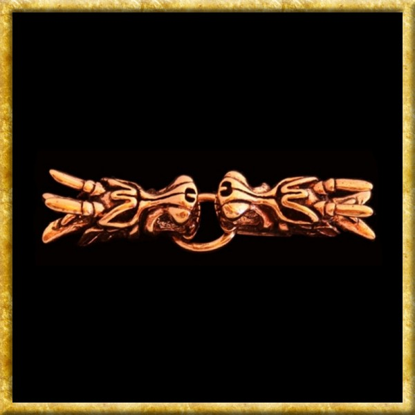 Wikinger Gewandschließe Drachenköpfe - Bronze