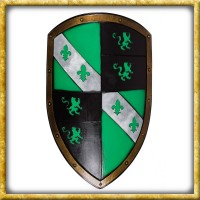 LARP Wappenschild mit Löwen - Grün/Schwarz
