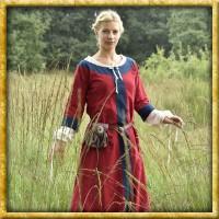 Frühmittelalter Kleid Gudrun - Rot/Blau