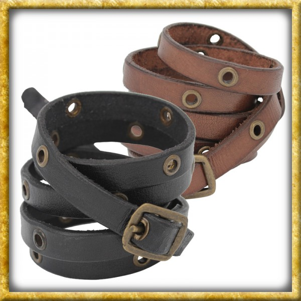 Wickelarmband aus Leder - Schwarz oder Braun