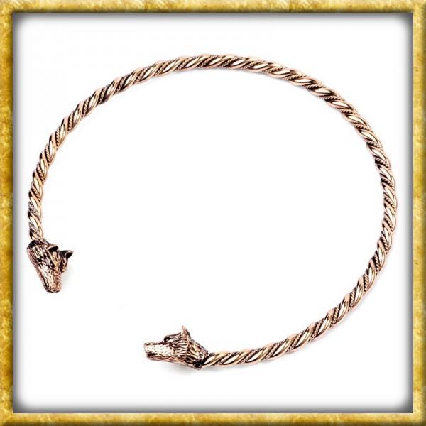 Grosser Wikinger Halsreif Wölfe aus Bronze