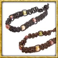 Lederarmband mit Perlen - Schwarz oder Braun
