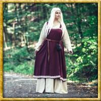Mittelalter Überkleid mit handgestickter Bordüre - Rot