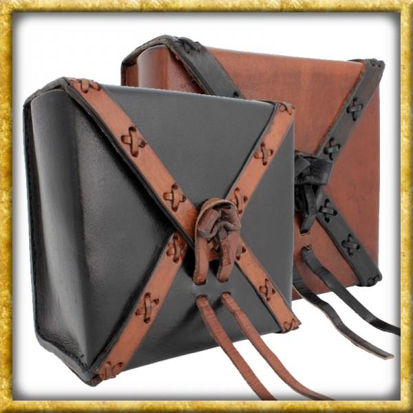 Quadratische Ledertasche - Schwarz oder Braun